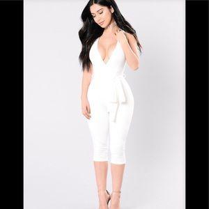 Fashion Nova It's Your Thing Ivory Jumpsuit Size L